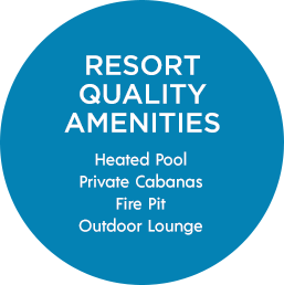 Resort Quality Amenities | Heated Pool, Private Cabanas, Fire Pit, Outdoor Lounge